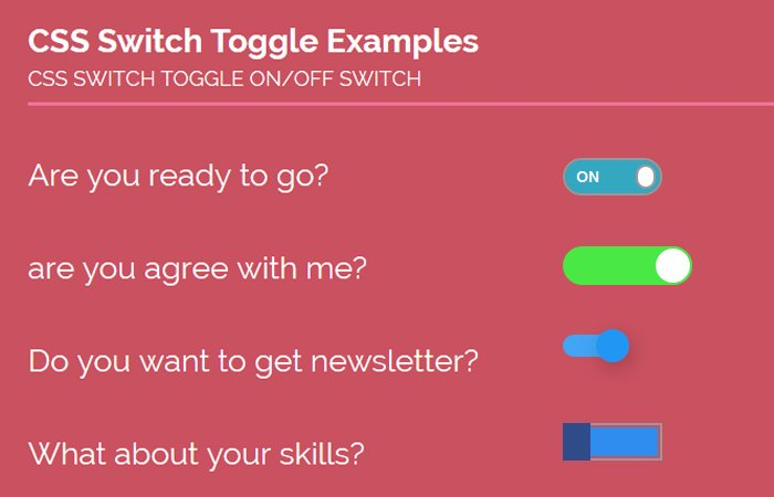 Create Pure CSS Toggle Switch ON/OFF Examples