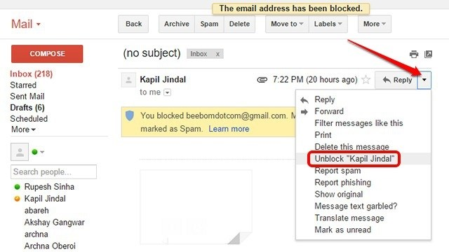 how to unblock email on gmail