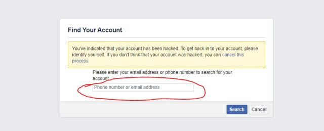 Search hacked facebook Account