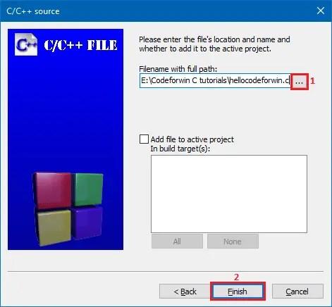 Create new C file in CodeBlocks - 5