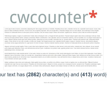 cw counter is a free web tool that counts the number of character and words present within a block of text.