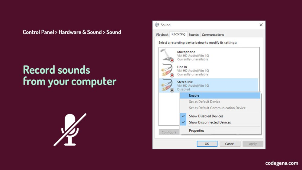 How to record sound from computer without any microphone? - Codegena