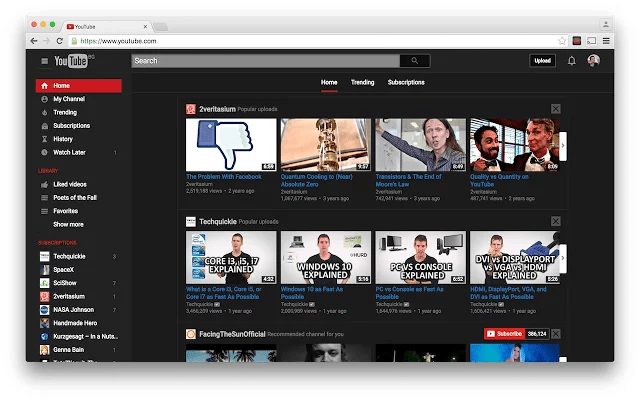 dark skin for youtube chrome plugin