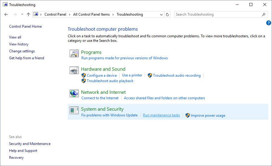 run maintenance tasks in windows 10