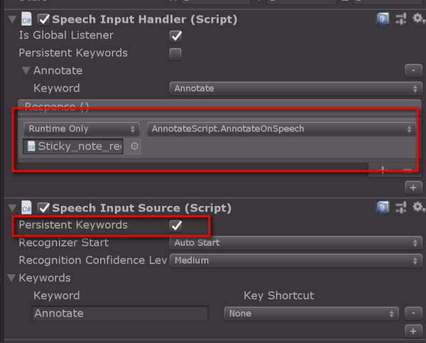 Now let's complete our Speech part: Go to SpeechManager object and edit the SpeechInputHandler Inspector to drag and drop the Sticky_note_red object and under Methods, look for AnnotateSpeech(). Check also the Persistent Keywords in SpeechInputSource.