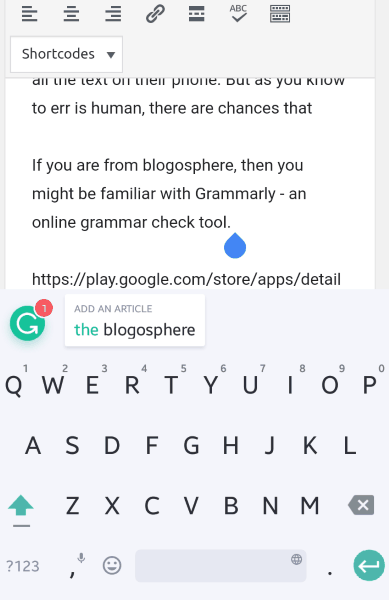 grammarly keyboard Android app in action