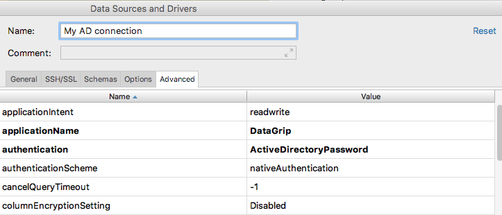 Setting ActiveDirectoryPassword for authentication.