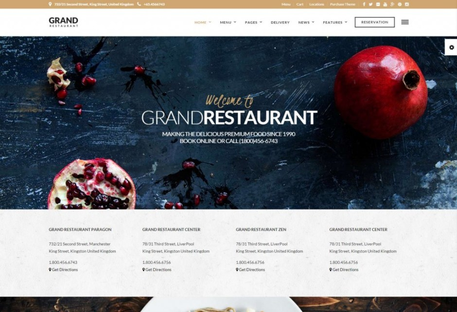 Grand Restaurant | Restaurant Cafe Theme