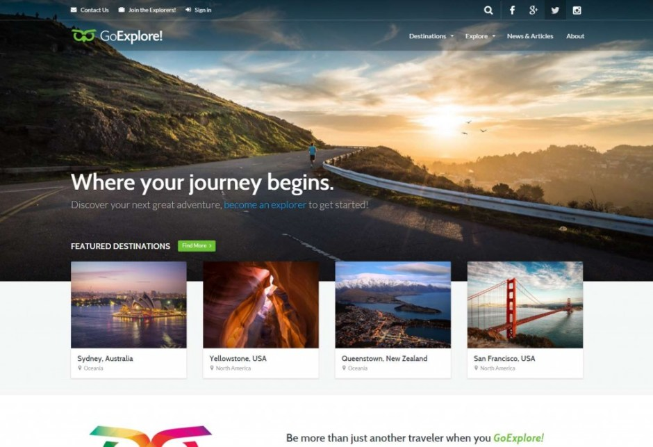 Go Explore Travel WordPress Theme Guides Destinations Blogs