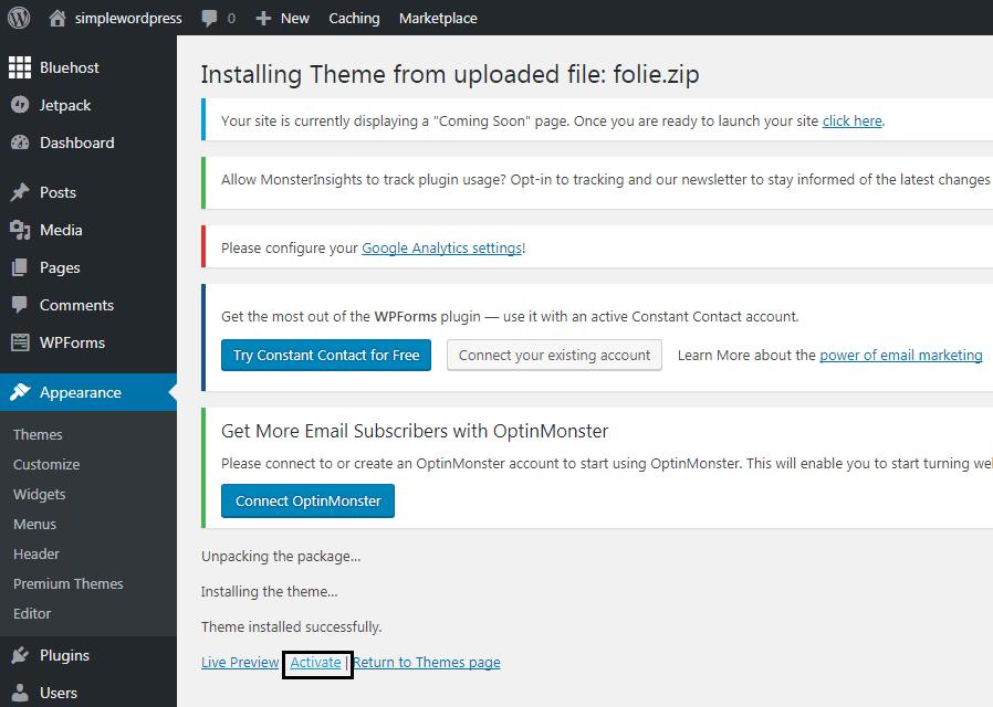 Upload Theme ‹ simplewordpress — WordPress