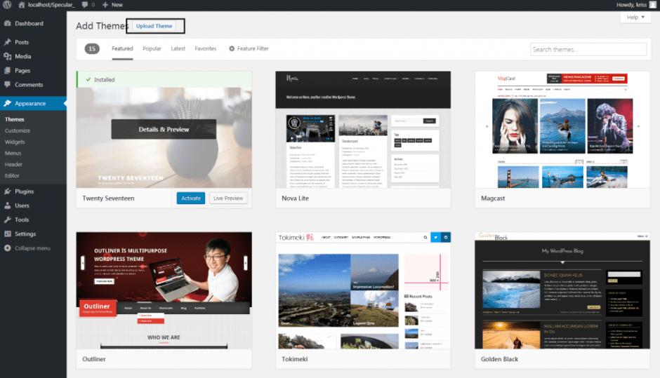 Add Themes ‹ — WordPress