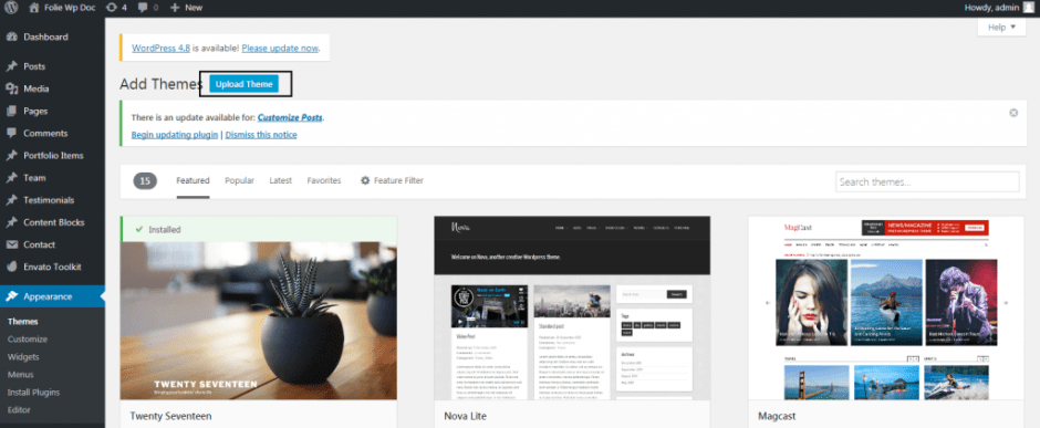 Add Themes ‹ Folie Wp Doc — WordPress