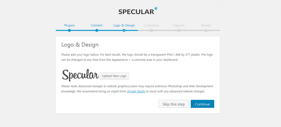 localhost Specular_ wp admin themes.php page specular setup step design