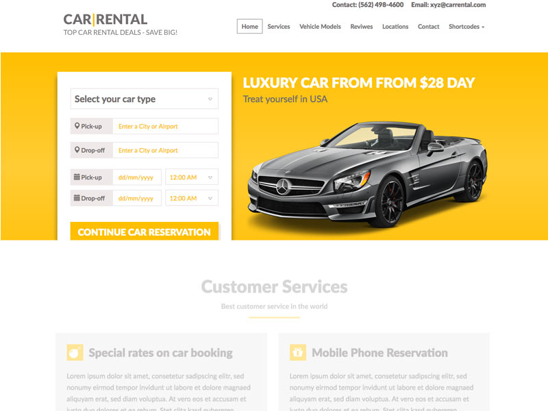 1 10+ Best Car Rental WordPress Theme Landing Page