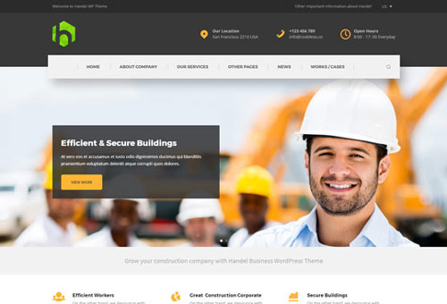 Handel Construction Dark WordPress Theme