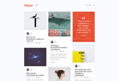 Thype Masonry WordPress Theme