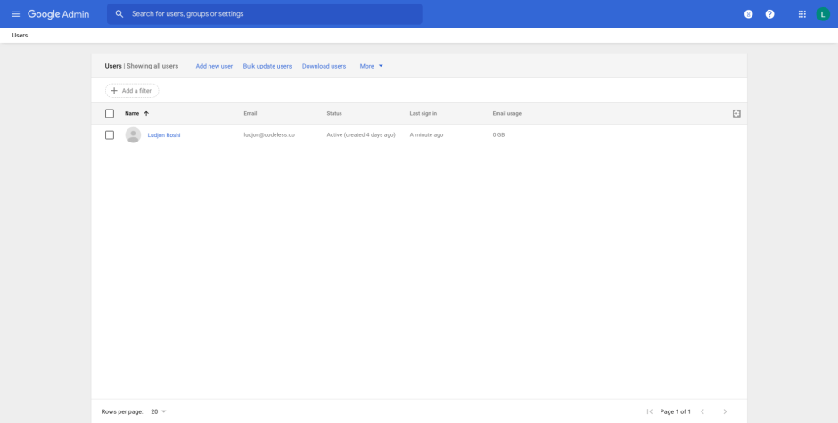 User email list admin console