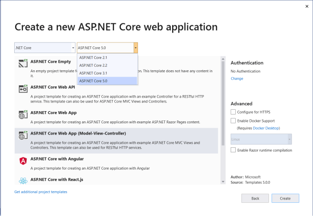Figure 1: Select the project template and specify authentication and the target framework.