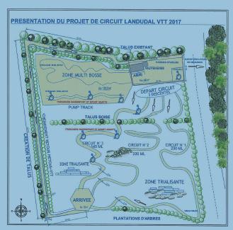 schéma du projet de stade VTT à Landudal