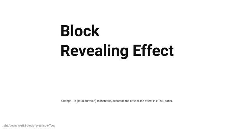 CSS Block Revealing Effect