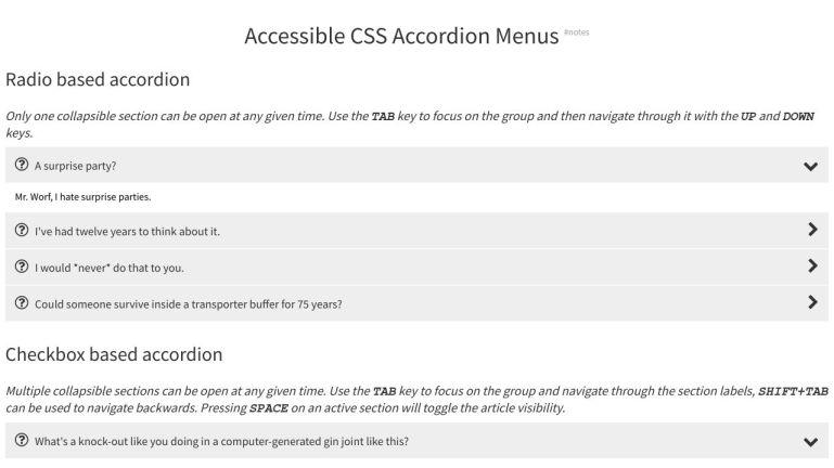 Accessible CSS Accordion Menus