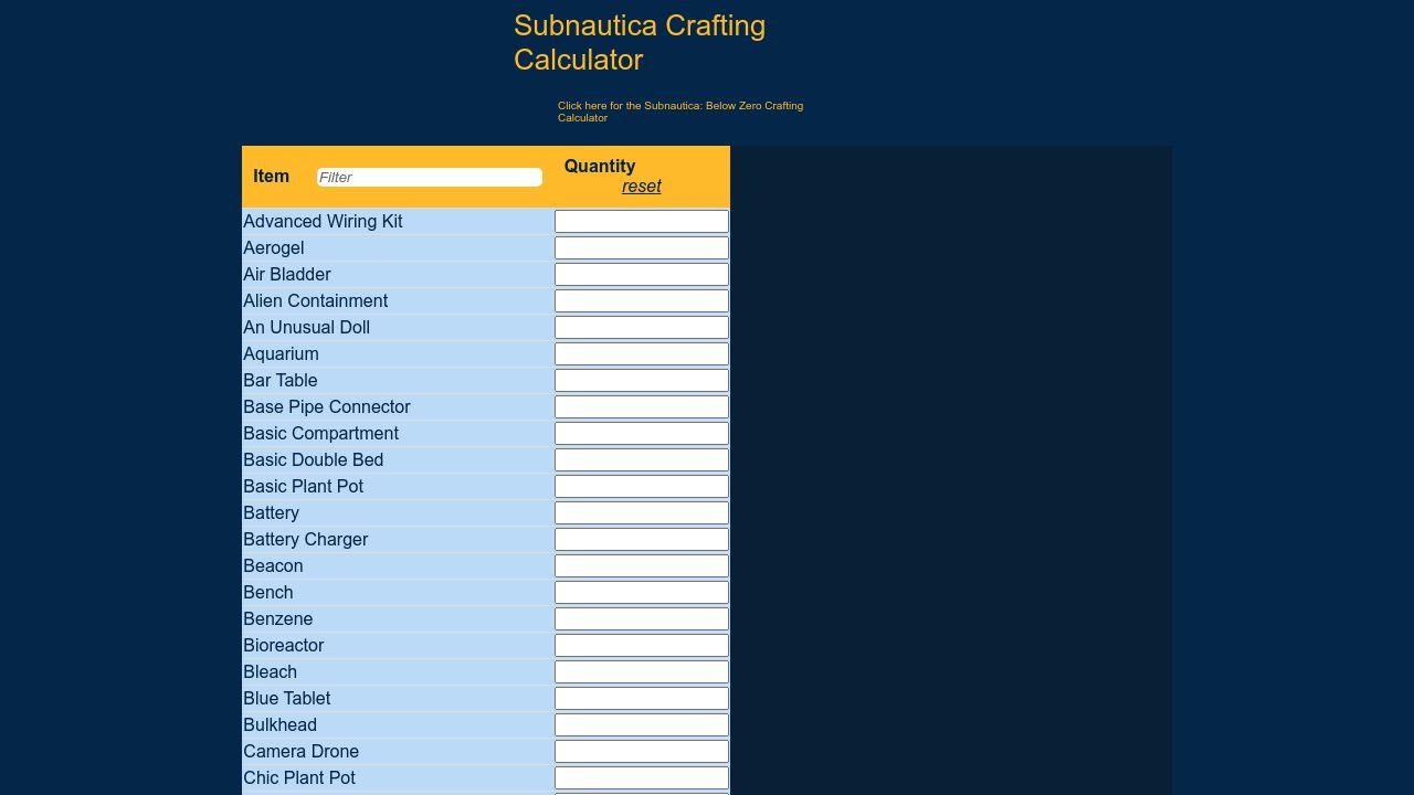 subnautica crafting calculator