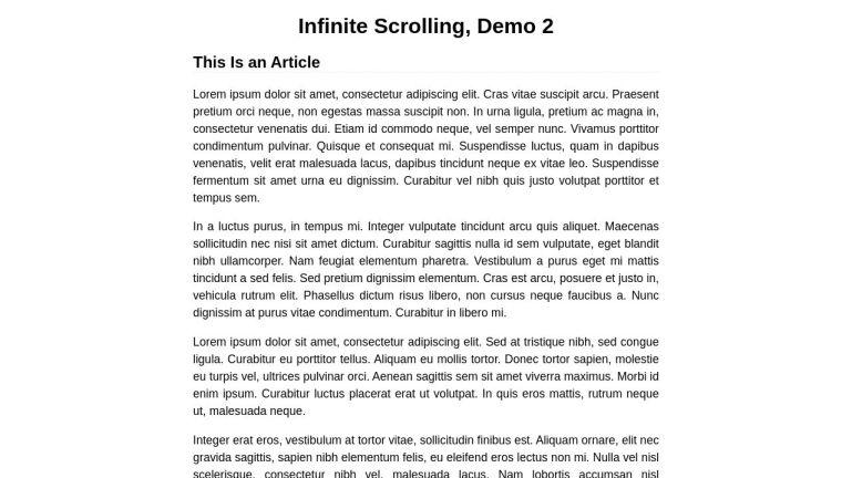 Infinite Scrolling through Blog Posts