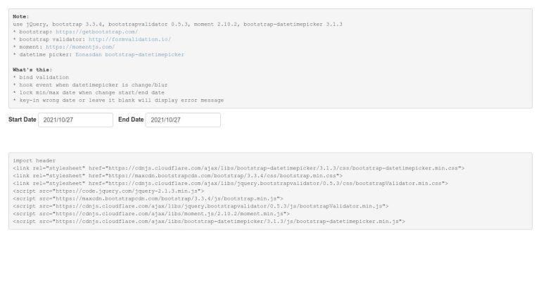 bootstrap datepicker date range