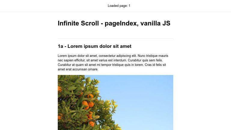 Infinite Scroll - pageIndex, vanilla JS