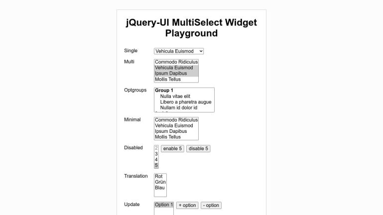 jQuery-UI MultiSelect Widget testing