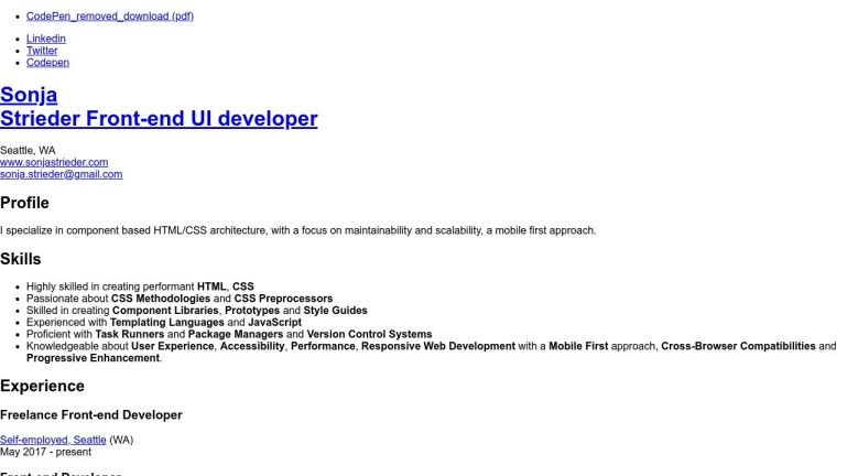 Resume in HTML and CSS