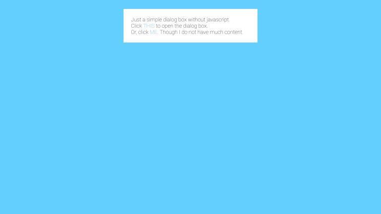 Pure CSS modal dialog box