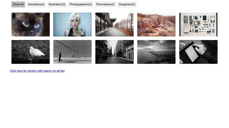 Filter image gallery - jquery