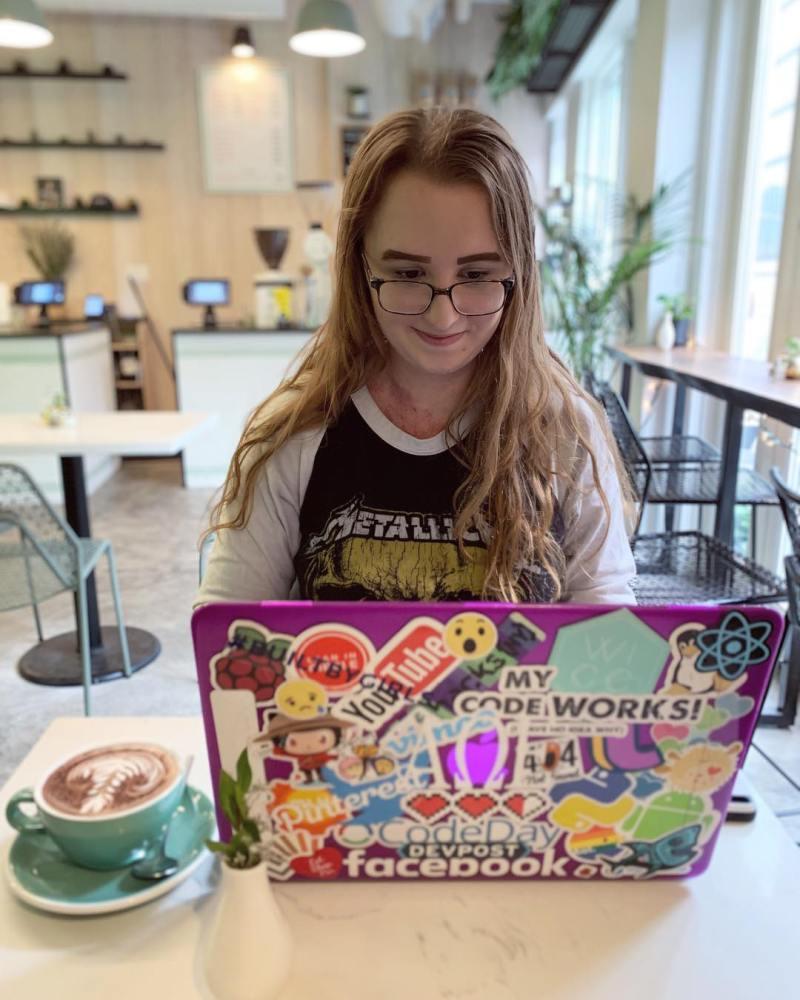 Caitlin working on her career goals