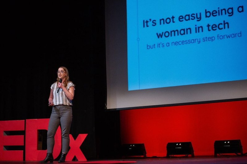 Giving a talk on her career as a woman in tech