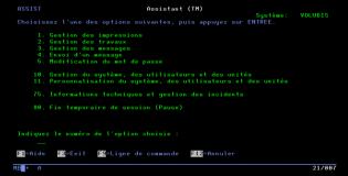 écran de gestion AS400