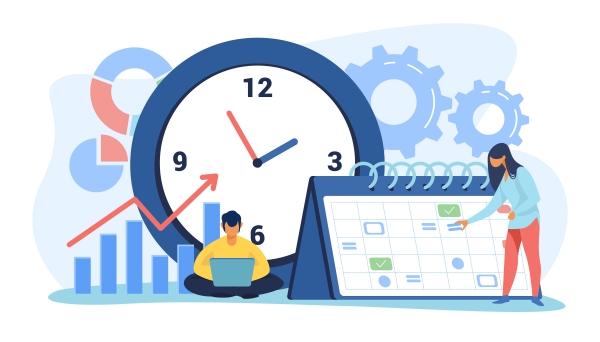 développeur, estimer le chiffrage des applications - Calendar vector created by pch.vector
