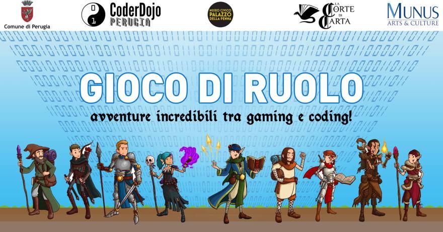 Locandina dell'incontro organizzato da CoderDojo Perugia e La Corte di Carta