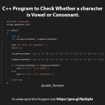 C++ Program to Check Whether a character is Vowel or Consonant