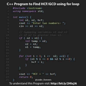 Find HCF or GCD using for loop