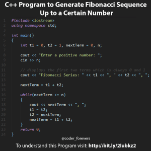 Program to Generate Fibonacci Sequence Up to a Certain Number