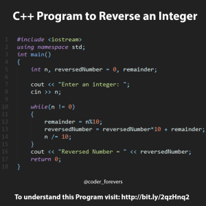C++ program to reverse a integer