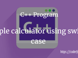 calculator using switch case