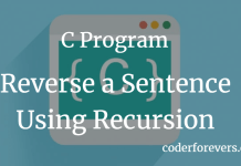 C Program to Reverse a Sentence Using Recursion