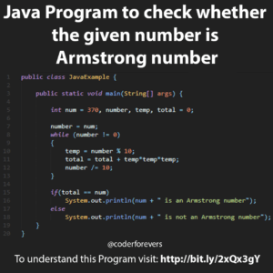 Java Program to check whether the given number is Armstrong number