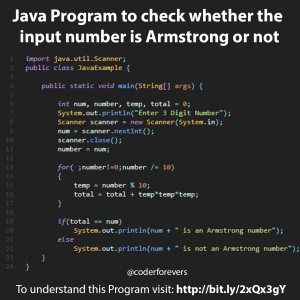 Java Program to check whether the input number is Armstrong or not