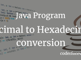 Java Program for decimal to hexadecimal conversion