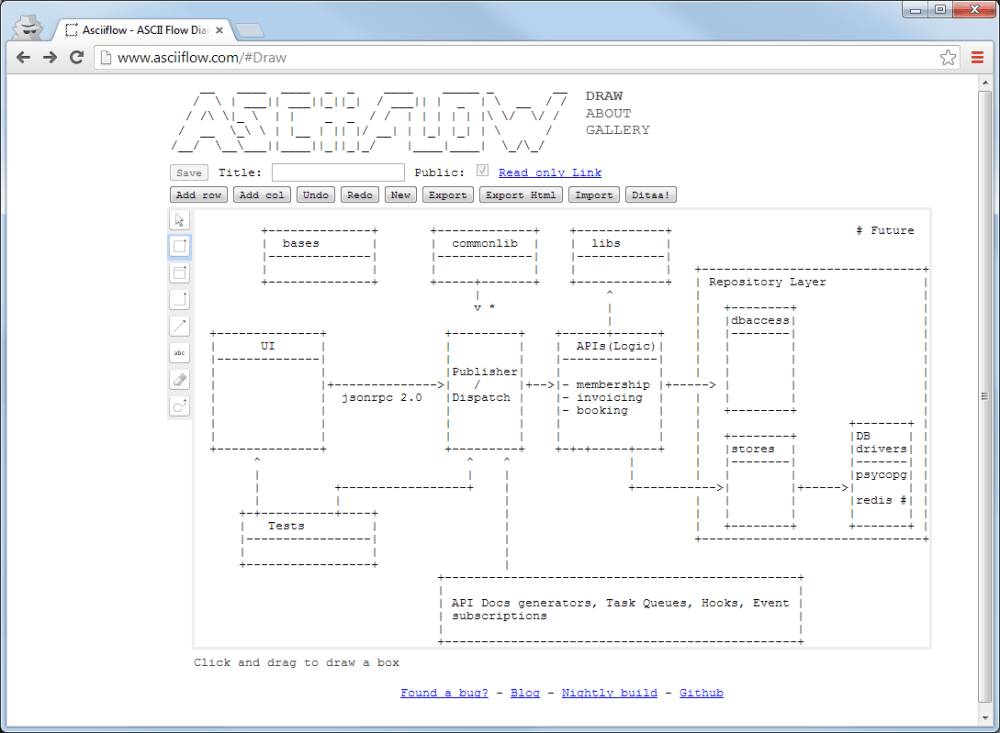 medium resolution of ascii art with a point and click interface tailored to a boxes and arrows drawing style and it s open source so you can run your own instance