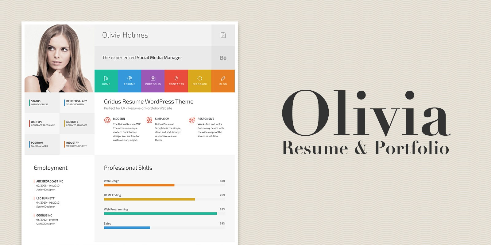 Wordpress Resume Themes Olivia Resume And Portfolio Wordpress Theme Codester
