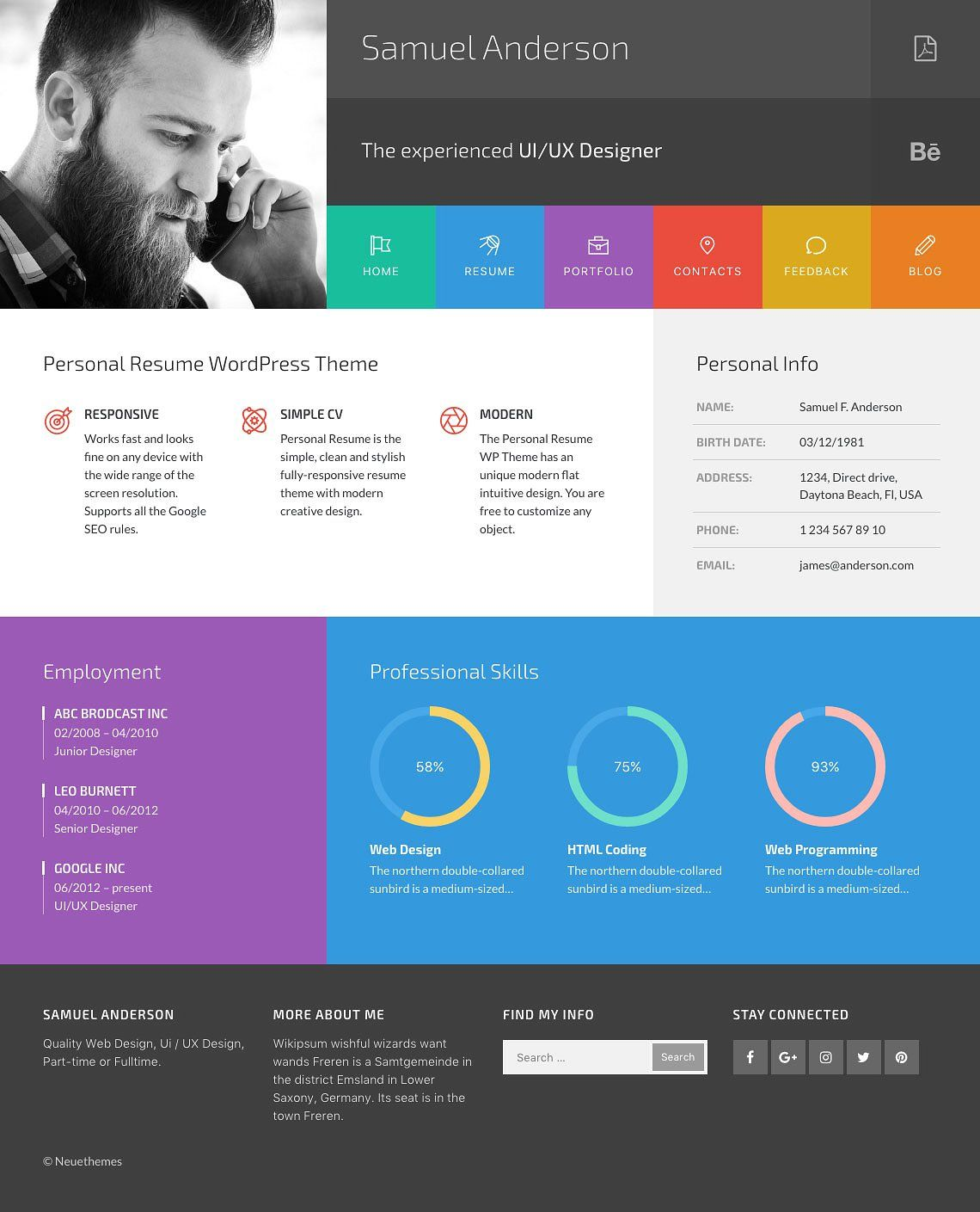 Wordpress Resume Themes Samuel Resume And Portfolio Wordpress Theme Codester